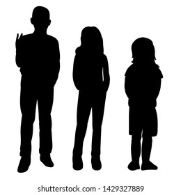 isolated vector, black silhouette children