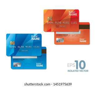 Isolated vector blue and red bank Cards.