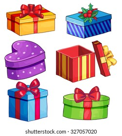 Isolated vector bright christmas present set