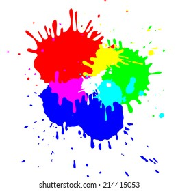 Isolated vector bright RGB blots, red, green, blue mix colors