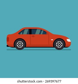 Isolated vector car. Flat design style