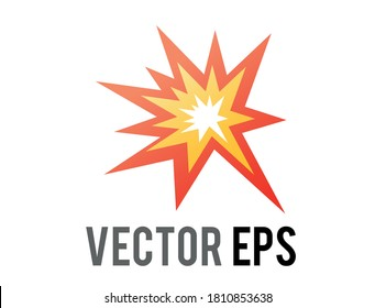 The isolated vector cartoon-styled red, yellow fiery burst collision star emoji icon