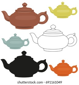 Isolated vector ceramic teapots set. Abstract design logo.