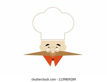 Isolated vector, chef-cook in a white cap, mustache, glasses, red collar. Vector.