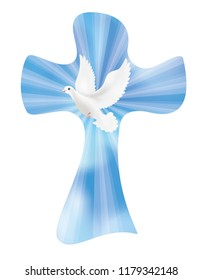 Isolated vector christian cross with dove on sky background with luminous rays