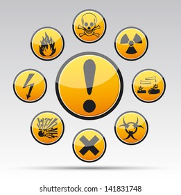 Isolated vector Circle Danger sign collection with black border, reflection and shadow on light background