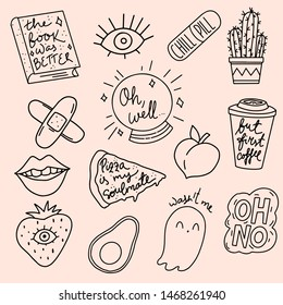 Isolated vector clip art doodle patches stickers or pins n 80's 90's style. Cool line art illustrations avocado, coffee, cactus, chill pill, peach, book was better