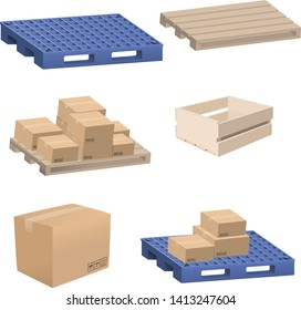 Isolated vector collection of various items found in a warehouse, including boxes, wood pallets, plastic pallets, wooden crates, stacked boxes.