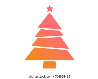Isolated vector colorful gradient Christmas tree flat icon