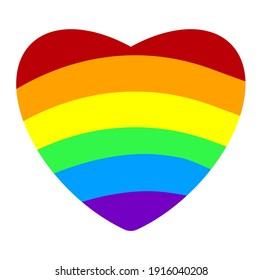 Isolated vector colorful rainbow heart on white background - ideal symbol for homosexual love, marriage, partnership, sex, rights, pride march.