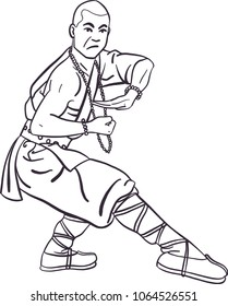shaolin temple stock illustrations images vectors shutterstock Kung Fu House isolated vector ic shaolin monk in kung fu pose traditional asian clothes ind black and