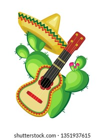 Isolated vector composition. Cactus in a sombrero and with a guitar for the feast of Cinco de Mayo. Transparent background