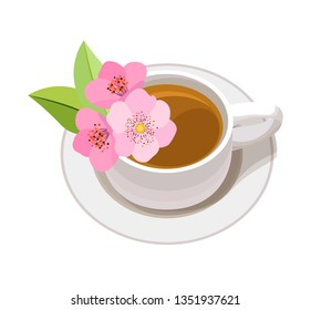 Isolated vector composition. Cup with tea on a saucer with flowers. Transparent background