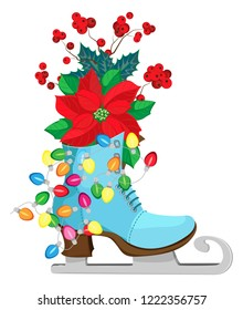 Isolated vector composition of figure skate, Christmas tree lights and Christmas plants Transparent background