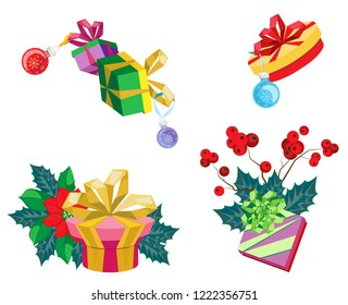 Isolated vector composition of gifts and christmas plants. Transparent background