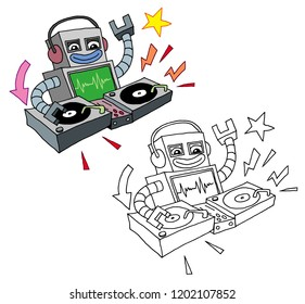 isolated vector deejay robot play music on disco club and doodle line art version