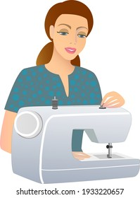 Isolated vector drawing girl and sewing machine