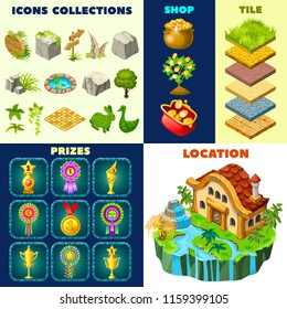Isolated vector elements for computer game. 3d isometric building on island. Collection icons landscape design, prizes, rewards, winner cups, trophy, money, rosette awards, tiles.