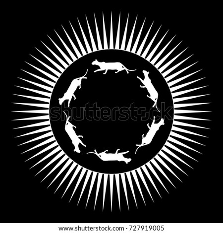 Isolated Vector Emblem Ring Sneaking Cats Stock Vector