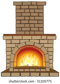 Isolated vector Fireplace with fire-separated elements