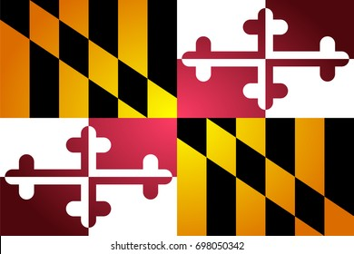 Isolated vector flag of Maryland. Gradient and glowing version. National state's symbol. Patriotism and travel theme.