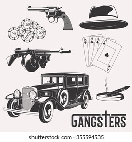 Isolated vector gangster set on white background