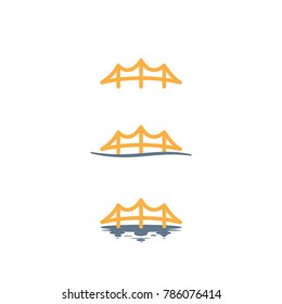 Isolated Vector Golden Bridge Icon Illustrations