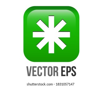 The isolated vector gradient bright green rounded square bullet sparkle Eight Spoked Asterisk point emoji icon