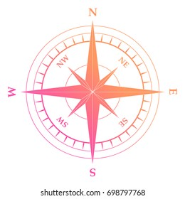 Isolated vector gradient pink and orange nautical compass equipment symbol