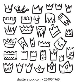 Isolated vector hand drawn crowns set on a white background