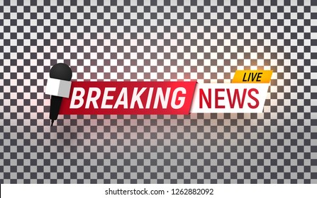 Isolated vector heading of Breaking news. Template title bar of news on transparent background