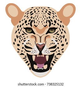 Isolated vector icon of leopard's face. Flat cartoon style.