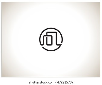 Isolated vector icon logo sign symbol, which consists of connected devices, or two buildings. In a sign hidden text symbols cc
