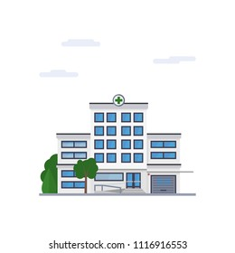 Isolated vector icon of modern hospital building