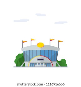 Isolated vector icon of modern sports stadium building