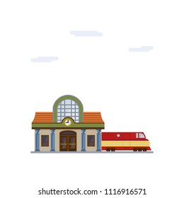 Isolated vector icon of railway station building