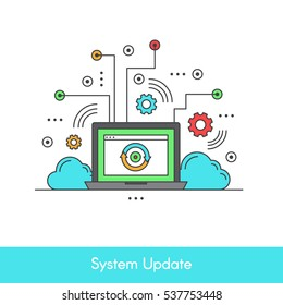 Isolated Vector Icon Stye Illustration of Computer System Data Update or Synchronize with Process, Replacing with New Software