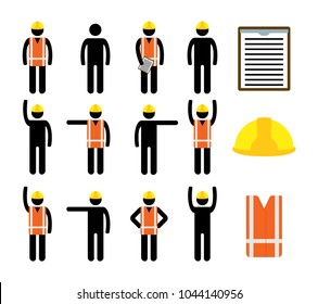 Isolated vector icons set of black pictogram men in reflecting orange vest and yellow safety helmet, light blue background