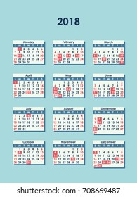 isolated vector illustration of 2018 calendar 12 months white and red month icons on