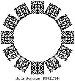 Isolated vector illustration. Abstract round frame with ornate floral mandalas. Based on medieval Romanesque or Gothic motif. Black silhouette on white background.