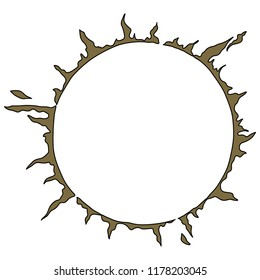 Isolated vector illustration. Abstract round decor or frame. Ring of flames. Stylized golden sun. Solar symbol. Hand drawn art.