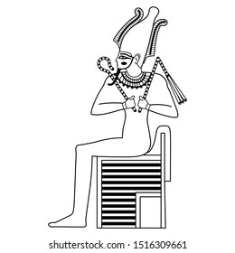 Isolated vector illustration. Ancient Egyptian god Osiris sitting on throne. Black and white linear silhouette.