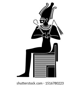 Isolated vector illustration. Ancient Egyptian god Osiris sitting on throne. Black and white silhouette.