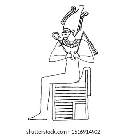 Isolated vector illustration. Ancient Egyptian god Osiris sitting on throne. Black and white linear silhouette. Hand drawn sketch.