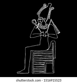 Isolated vector illustration. Ancient Egyptian god Osiris sitting on throne. Hand drawn linear sketch. White silhouette on black background.