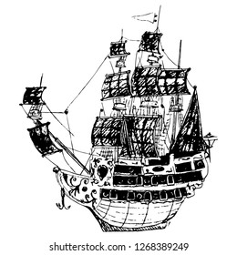 Isolated vector illustration. Ancient European sailing ship with green sails. Hand drawn linear sketch. Black silhouette on white background.