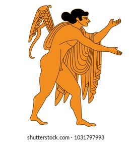 Isolated vector illustration. Ancient Greek god Apollo. Based on classic vase painting image.