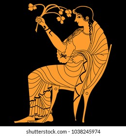 Isolated vector illustration of ancient Greek goddess Demeter or Persephone seated on a throne and holding a plant branch. Female archetype. Based on ethnic vase painting motif.