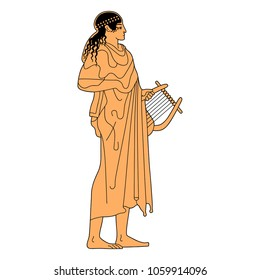 Isolated vector illustration of ancient Greek female or male character with a lyre. God Apollo or a muse.