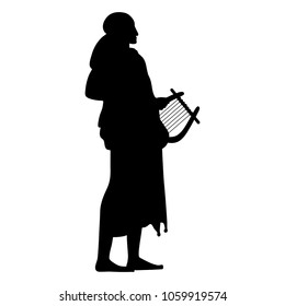 Isolated vector illustration of ancient Greek female or male character with a lyre. God Apollo or a muse. Black and white linear silhouette.
